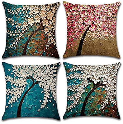 MIULEE Juego de 4 Lino Cojines Árbol de Pintura Funda de Cojín Almohada Caso de Decorativo Cojines para Sala de Estar sofá Cama Coche 18