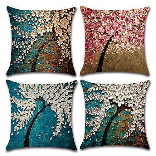 MIULEE Pack of 4 Decorative Oil Painting Tree Outdoor Pillow Cushion Cover Set Cotton Linen for Sofa Bedroom Car 18 x 18 Inch 45 x 45 cm (Tree Set Oil Painting)