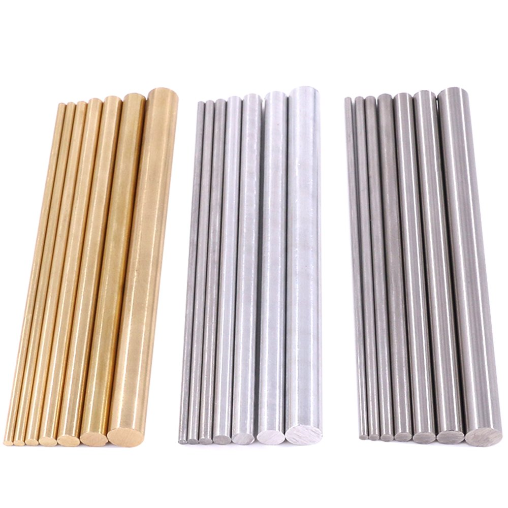 Glarks 21pcs 3 Sets of Metals Round Rod Lathe Bar Stock for DIY Craft Tool, Diameter 2mm - 8mm, Length 100mm, Metals Include Brass, Stainless Steel, Aluminum