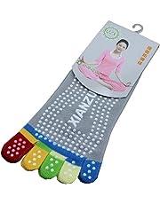 COMVIP Women's Antiskid Low Cut Ankle Cotton Running Yoga Toe Socks