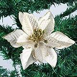 DERVONUNS Poinsettia Christmas Decorations Glitter