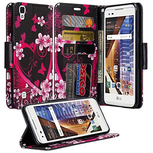 LG X Power Case, Wrist Strap Flip [Kickstand Feature] Pu Leather Wallet Case with ID&Credit Card Slot For LG X Power - Hot Pink Hearts