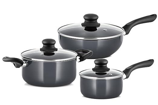 Juego de ollas y sartenes antiadherentes de 15 piezas de aluminio de grado profesional Chefs Star, set de utensilios de cocina: Amazon.es: Hogar