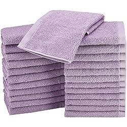AmazonBasics Washcloth - Pack of 24, Lavender