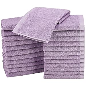 AmazonBasics Cotton Washcloth/Face Towel – 448 GSM – Pack of 24, Lavender