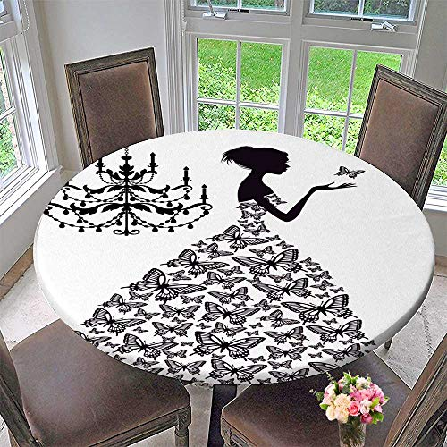 Chateau Chandelier Iron - Chateau Easy-Care Cloth Tablecloth Woman with Butterflies and Vinatge Chandelier for Home, Party, Wedding 59
