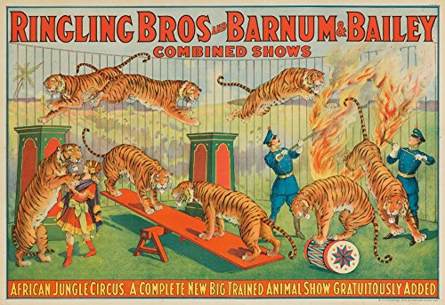 Ringling Bros and Barnum and Bailey - African Jungle Circus Vintage Poster USA c. 1922 (36x54 Giclee Gallery Print, Wall Decor Travel Poster)