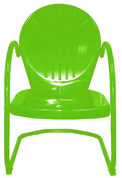 Attirant Rich Pacific Lime Green Retro Metal Tulip Chair
