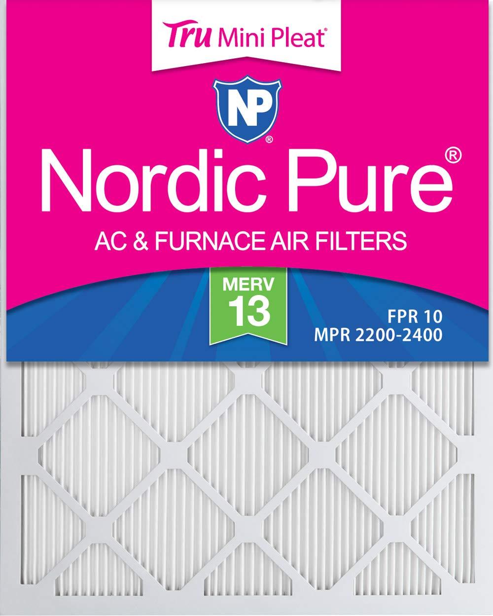Nordic Pure 19x23x1 Exact MERV 13 Tru Mini Pleat AC Furnace Air Filters 12 Pack
