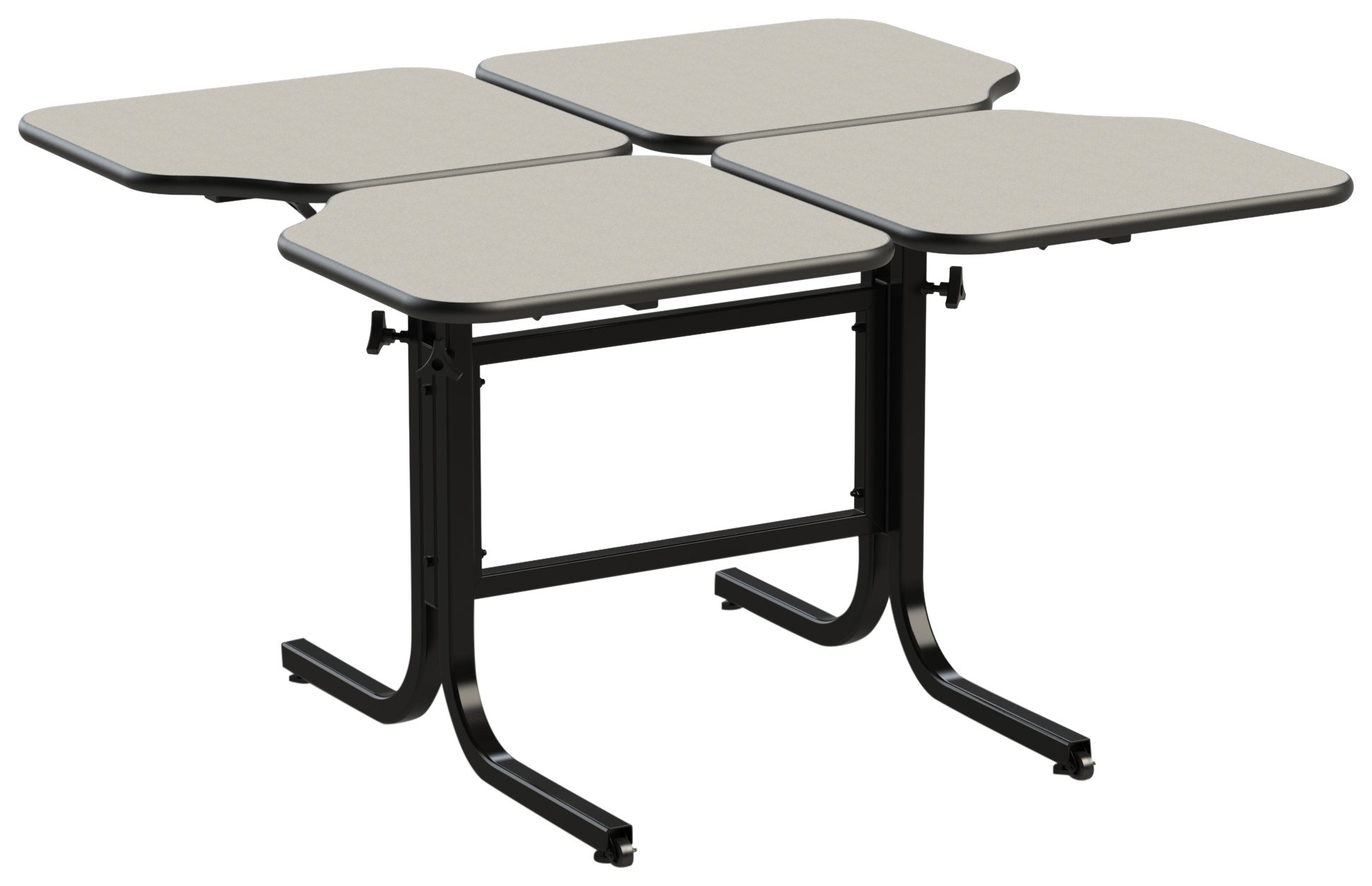 Wheel chair height adjustable table (4 person) double pedistal