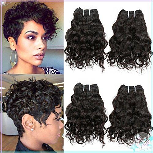 8in Water (HANNE 4Pcs Brazilian Virgin Hair Water Wave Brazilian Hair Water Wave Curly Hair 50G Human Hair Extensions (8