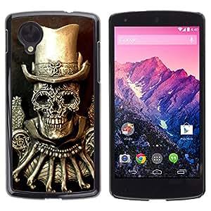 Shell-Star Arte & diseño plástico duro Fundas Cover Cubre Hard Case Cover para LG Google NEXUS 5 / E980 /D820 / D821 ( Golden Top Hat Death Skull Bling )