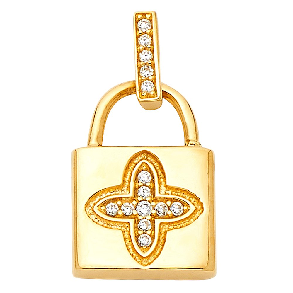 Million Charms 14k Yellow Gold with White CZ Accented Lock Charm Pendant 15mm x 11mm