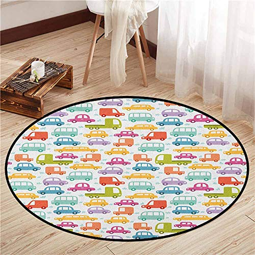 Pet Rugs,Cars,Lovely Drive on a Sunny Fun Summer Day Theme with Colorful Buses Trucks Exhaust Fumes,Sofa Coffee Table Mat,2'3