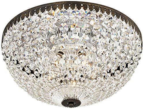 (Schonbek 1564-76A Swarovski Lighting Petit Crystal Flush Mount Lighting Fixture, Heirloom Bronze)