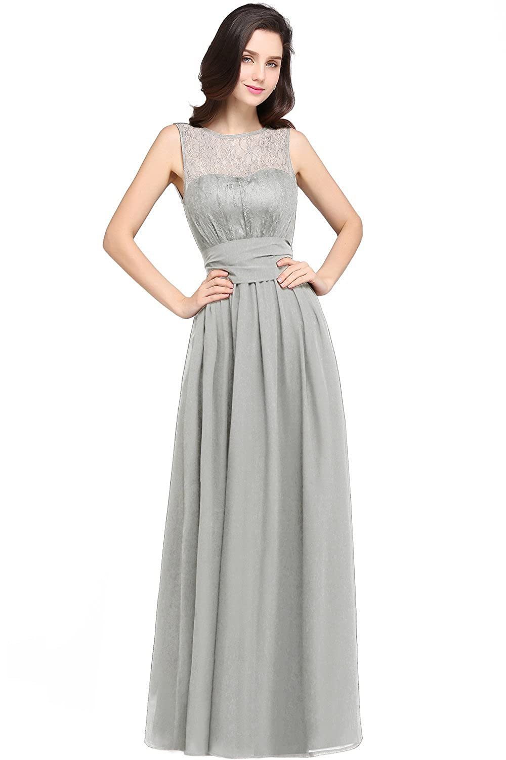 37f2542c55 Babyonlinedress Sleeveless Slim Lace Chiffon Silver Bridesmaid  Dress,Silver,8