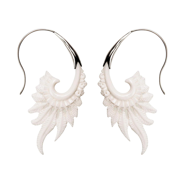 81stgeneration Womens 925 Sterling Silver Bone Hand Carved Tribal Wings Feather Earrings Drop Dangle Earrings Drop Dangle Jewelry