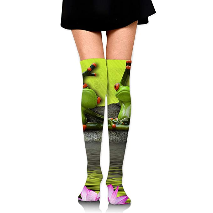 High Elasticity Girl Cotton Knee High Socks Uniform Frogs ...