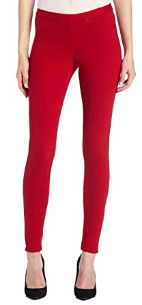 33468b5e44d3e3 HUE Original Denim Leggings XS Deep Red at Amazon Women's Clothing ...