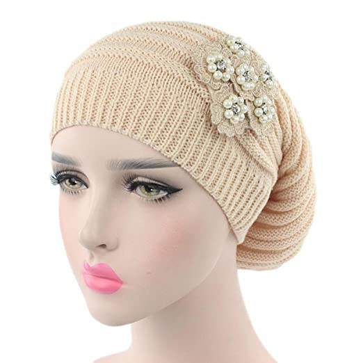 d77088703471f Fabal Women Chiffon Ruffle Cancer Chemo Hat Beanie Scarf Turban Head Wrap  Cap (Beige)