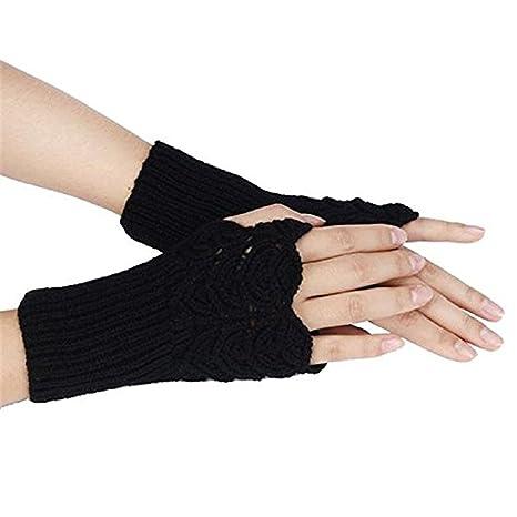 One size , Black : Bodhi2000® Women Warm Winter Knit Crochet Fingerless Mitten Gloves