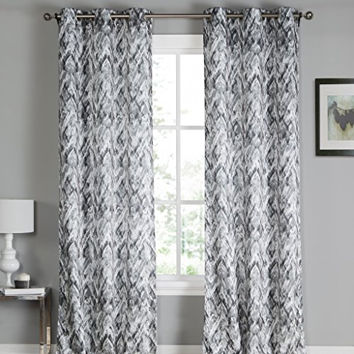 White & Grey Paint Splatter Grommet Top Window Curtain Pair Panel Insulated Drapes For Bedroom, Livingroom, Kid, Children, Nursery - Assorted Color - 38 by 84 Inch, Set of 2 Panels