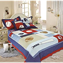 LELVA Children's Bedspreads Set Sports Bedding Kids Bedding Boys Basketball Baseball Soccer (Twin)