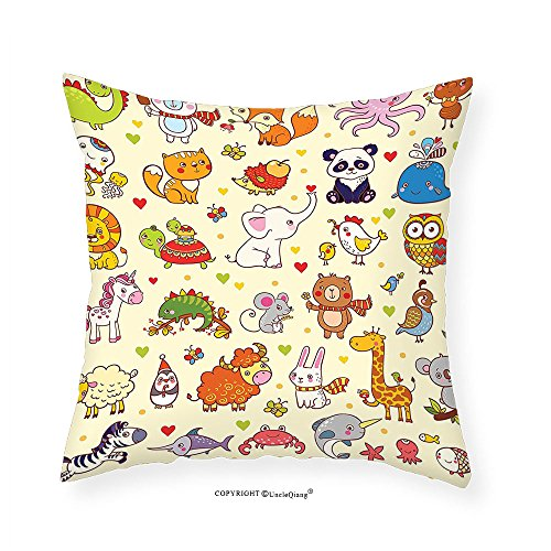 VROSELV Custom Cotton Linen Pillowcase Kids Decor Cartoon Panda Fox Elephant Chicken Birds Mouse Nursery Children Room Cute Decor for Bedroom Living Room Dorm Multicolor - Camp Chairs Custom
