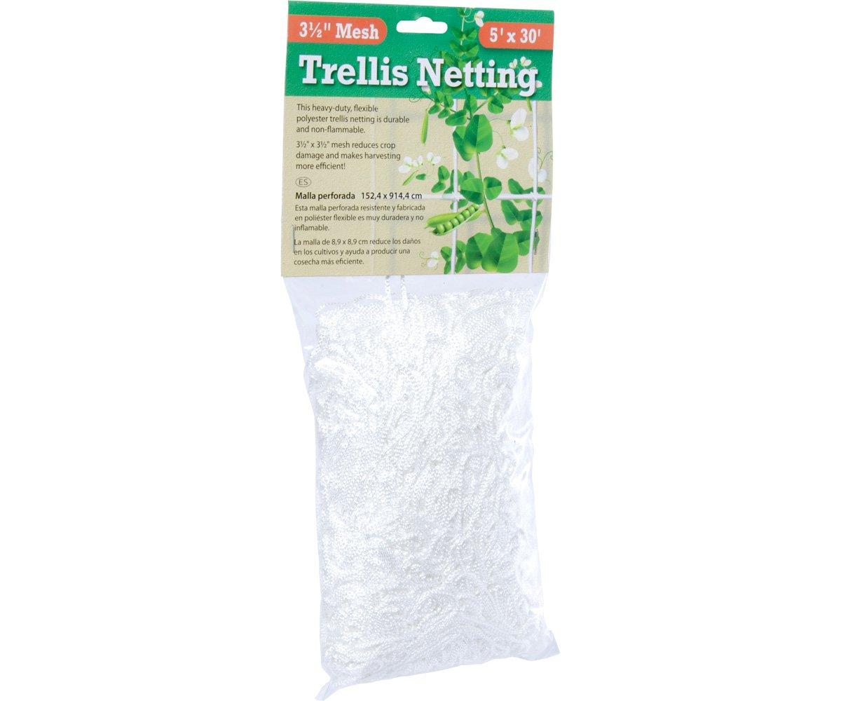 Hydrofarm HGN30S Flexible String Trellis Netting, 5' x 30', 3.5'' Mesh