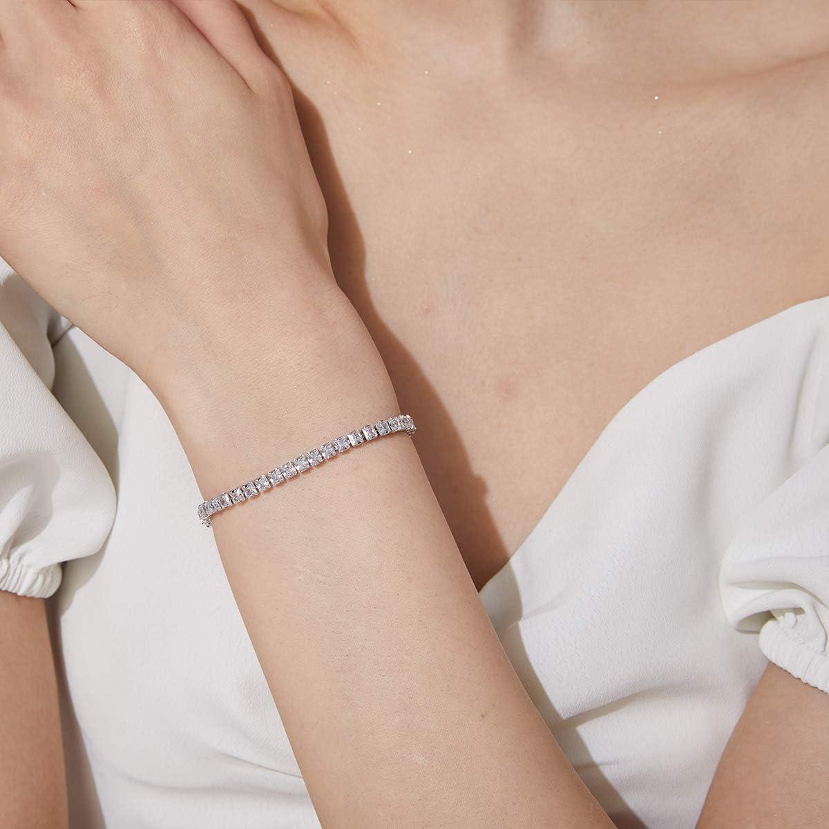 CZCITY Classic Tennis Bracelet for Women 18K White//Gold Plated Cubic Zirconia Bracelet 3mm Square Cut Bezel Set Women Bracelets Birthday Gift for Mom Wife Ankle Bracelet 6.7/& 7.5