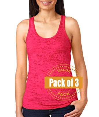 980ae6090abef Next Level Womens Burnout Racerback Tank Top N6533-Shocking Pink-Small (3  Pack
