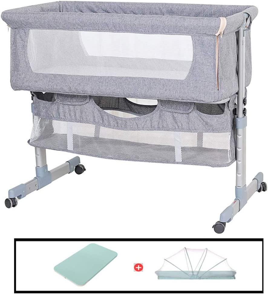 Xinjin Bedside Sleeping Crib Folding Bassinet Side Sleeper Travel Cot Height Adjustable Breathable Mesh Window Co-Sleeper Baby Play Pen for Newborn Toddler