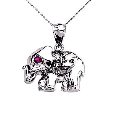 Amazon 14k white gold red cz elephant pendant necklace 16 14k white gold red cz elephant pendant necklace 16quot aloadofball Choice Image