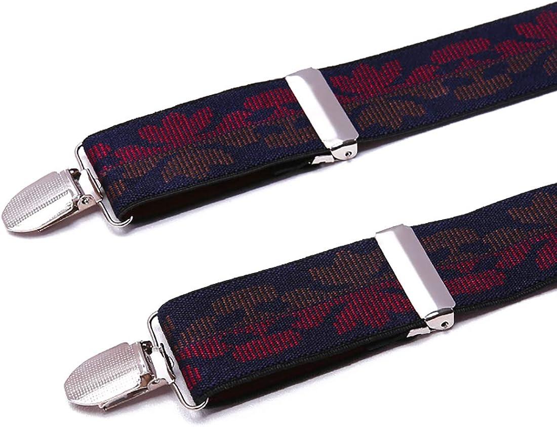 Men Braces KANGDAI Stainless Steel Metal Clips 4 X Back Durable Elastic Adjustable Suspenders Strong Metal Clips Heavy Duty Mens Braces