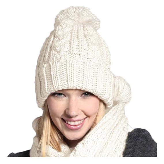 Jelinda - Ensemble bonnet, écharpe et gants - Femme - blanc - Taille unique 1d7bd63856a