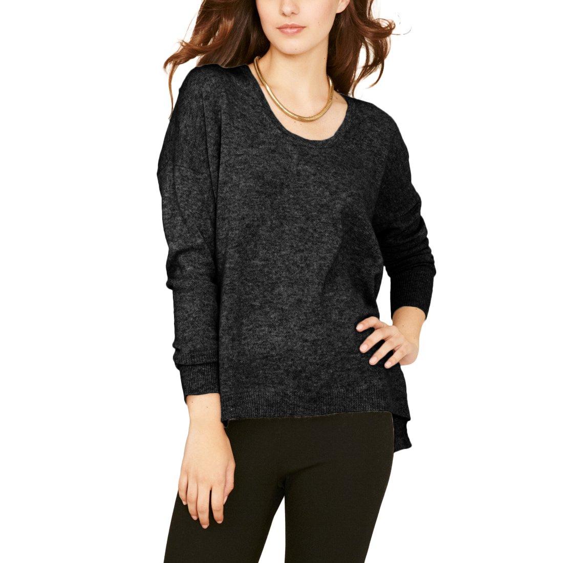 Parisbonbon Women's 100% Cashmere Scoop Neck Sweater Color Black Gray Size 3X