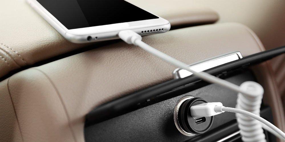 QLIQ Auto Ladeger/ä t USB-C Power super Mini 2-Port 5V 4.8A, 2-in-1 KFZ Aufladeger/ä t Ultra klein, Zigarettenanz/ü nder Adapter Typ C Car Charger f/ü r iPhone, iPad, Android, Samsung Galaxy, Powerbank, etc.
