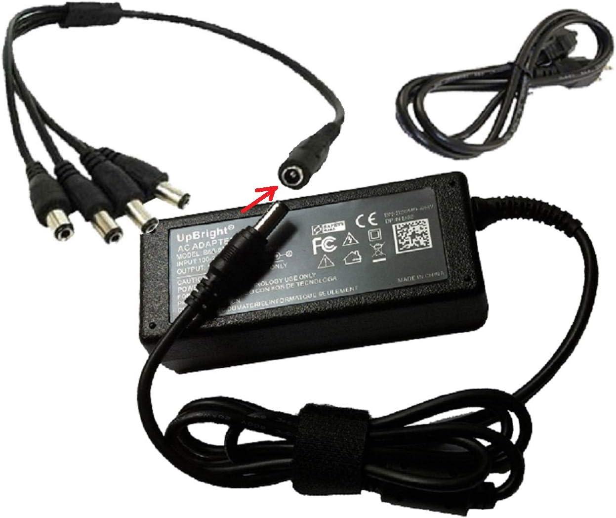 12V 5A 60W AC//DC Adapter for Swann CCTV Camera DVR Pro-530 SWPRO-530CAM PRO-535 SWPRO-535CAM-US PRO-555 SW331-PR5 PRO-580 SWPRO-580CAM PRO-581 PRO-842 Power PSU UpBright 4 Splitter//4 Way Power Cord