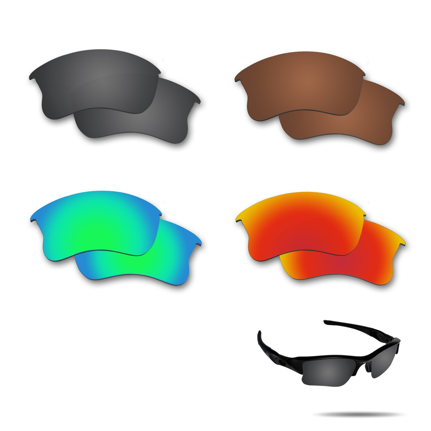Fiskr Anti-saltwater Polarized Replacement Lenses for Oakley Flak Jacket XLJ Sunglasses 4 Pairs by Fiskr