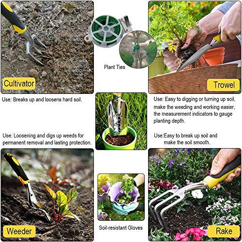 KEDA Garden Tool Set, 9 PCS gardening Tool Set for Digging Planting with Storage Organizer Tote, Garden Gloves Shove, Plant Tie, Ergonomic Gardening Gifts Tool Set for Women Men Adults by KEDA (Image #2)