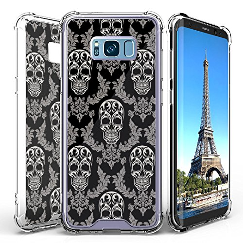 Galaxy S8 Case, DuroCase AquaFlex Shockproof TPU Bumper w/ Hard Plastic Back Shield 2in1 Hybrid Case (Clear) for Samsung Galaxy S8 SM-G950 (Released in 2017) - (Skull Vintage Pattern) -