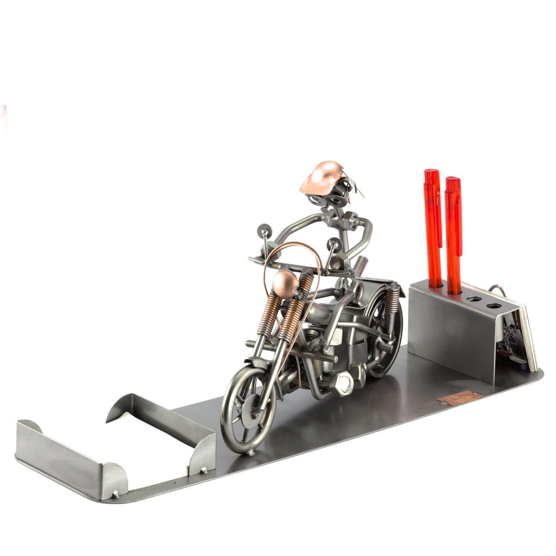 Steelman24 I Schraubenmännchen Harley Big Schreibtisch Organizer I Made in Germany I Handarbeit I Geschenkidee I Stahlfigur I Metallfigur I Metallmännchen