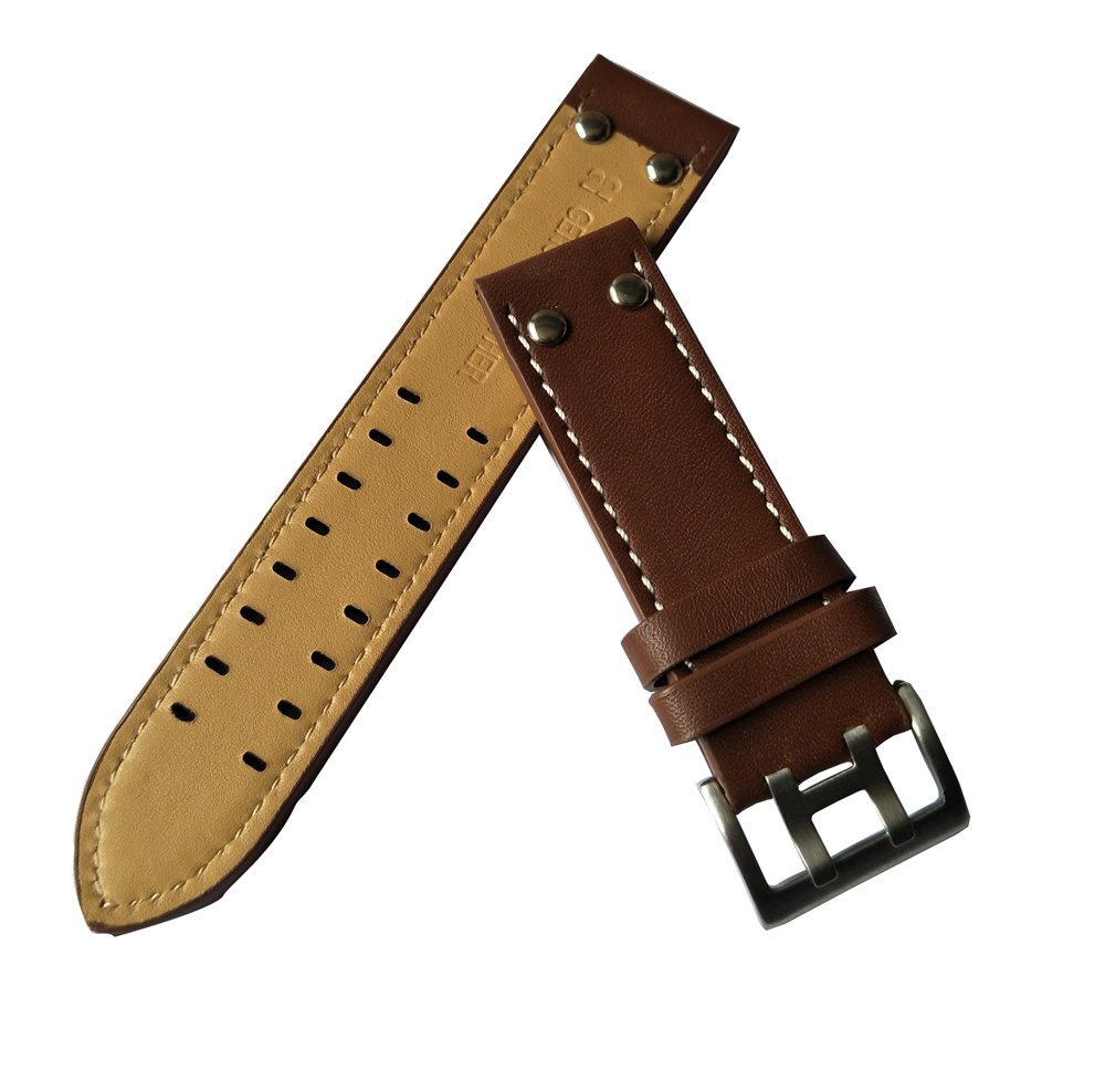 MSTRE NP125 22mm Watch Band Suitable for Hamilton Watches with Steel Buckle for Men&Women (20mm, Brown) by MSTRE (Image #3)