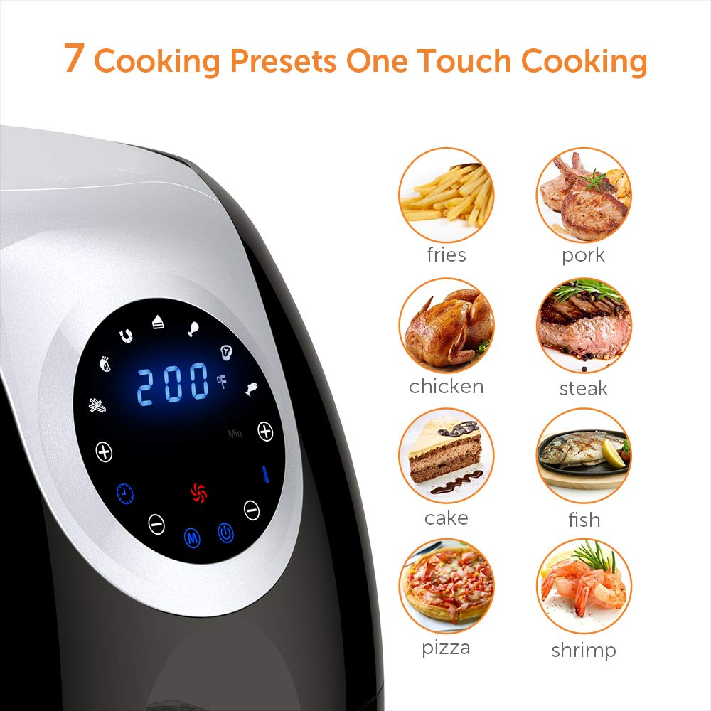 Innsky 6.3 Qt Air Fryer( 32 Main Recipes &Grilling Rack Included), 1700W Electric Hot Air Fryers XL Oven Oilless Cooker, LED Digital Touchscreen, Auto Shut Off, 7 Cooking Presets, Preheat & Nonstick Basket 18+3 Months Warranty by Innsky (Image #5)