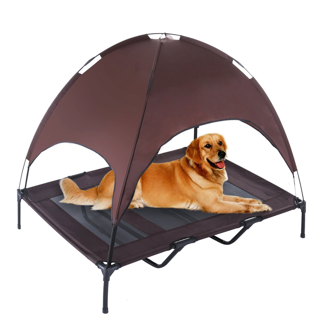 SUPERJARE XLarge Outdoor Dog Bed Elevated Pet Cot with Canopy | Portable for Camping or Beach | Durable 1680D Oxford Fabric | Brown
