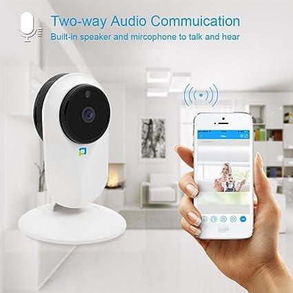 hcfkj HD 1080P Wifi Vigilancia Monitor Cámara con visión nocturna Motion Detection Dos vías de audio
