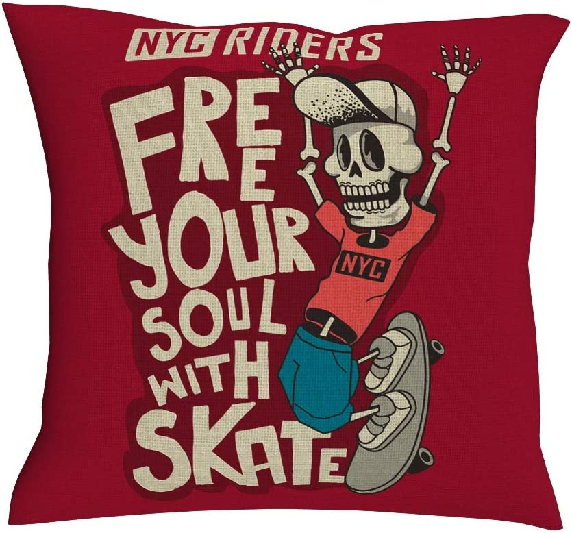 DDM-857 Casual Pillowcover Motion Skateboard Character Casual -Skateboard Cushion Covers with Hidden Zipper for Coffee Shop Decro White 18x18inch