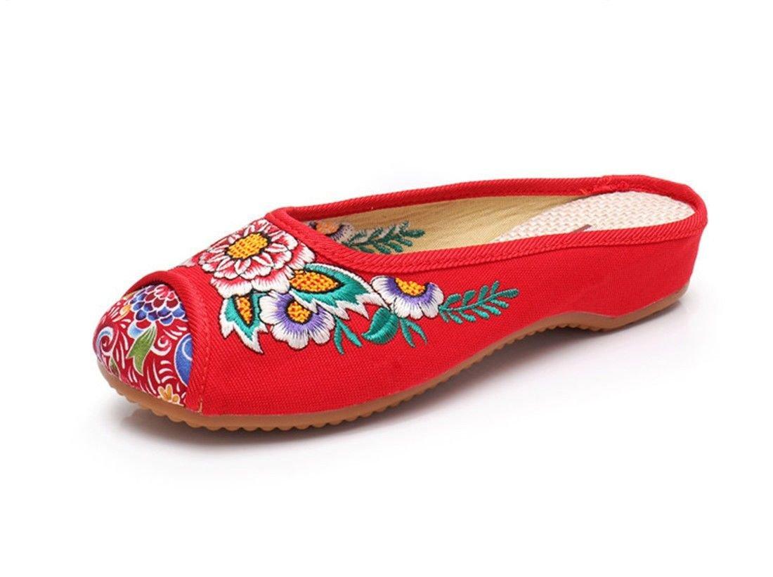 AIKAKA Chaussures pour 19998 Femmes Printemps B06XJ3YMC8 Été de Pente de Tendon de Style Chinois avec des Chaussures de Pantoufles Red f17f847 - robotanarchy.space