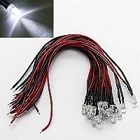 LAOMAO 20 x 5 mm leds met 20 cm kabel 12 volt DC/led bekabeld (wit)