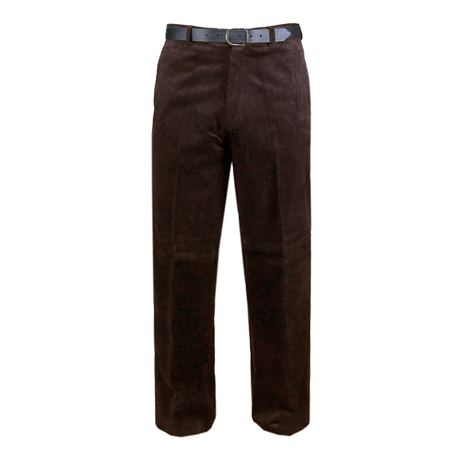 MyShoeStore Mens Cord Trousers Formal Smart Cotton Corduroy Trouser Casual Classic Pants With Pockets & Free Belt Plus Big Sizes 30-50